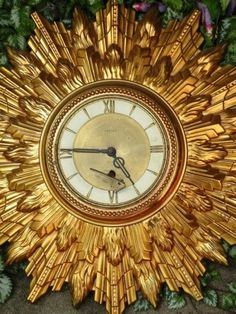 Welby Sunburst Starburst Wall Clock Vintage Mid Century Gold Retro Modern Decor