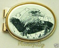 Money Clip Oval Barlow Scrimsaw Carved Painted Art Fly Fisherman Silver 539401