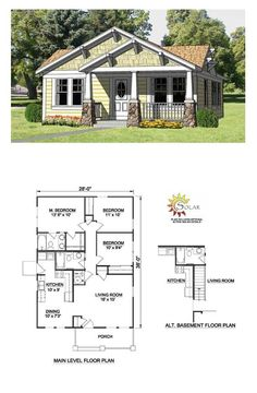 Bungalow Style COOL House Plan ID: Total Living Area: 1064 sq. Cottage House Plans, Country House Plans, Best House Plans, Dream House Plans, Small House Plans, House Plans 3 Bedroom, Bungalow Floor Plans, Craftsman Style House Plans, House Floor Plans