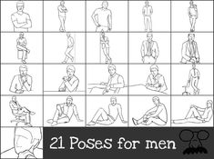21 poses for men- I took these pics and turned them into a collage so I could print them off onto a little card to take with me to my brother's photoshoot :)
