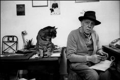 Giacometti et chat - photo Martine Franck