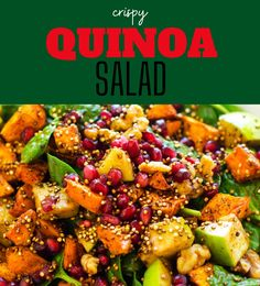 This easy Healthy Sweet Potato Quinoa Salad is easily my favorite quinoa salad that I've ever made. It is so colorful, light, and refreshing. Make this one for your next family dinner, and you will have a glow of satisfaction that comes from serving something that everyone loves. Best Quinoa Recipes, Vegetarian Salad Recipes, Healthy Gluten Free Recipes, Sweet Potato Quinoa Salad, Crispy Sweet Potato, Crispy Quinoa, Healthy Meats, Dinner Salads, Glow