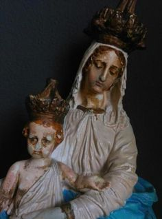 Oude Brocante Antiek Beeld Maria des Victoires Gips