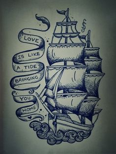 ship tattoo without the quote