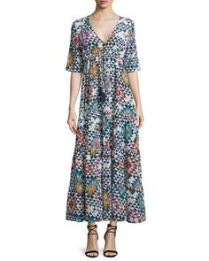 Kalila+Geometric-Print+Maxi+Dress,+Multi+Colors+by+Figue+at+Neiman+Marcus.