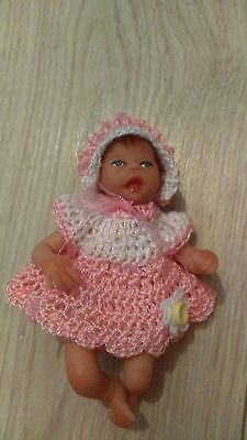 "Hand crochet dolls clothes fits 5"" ashton drake, ooak baby or similar size"