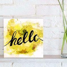 quadro decorativo hello yellow