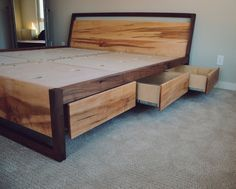 Modern Maple & Walnut Platform Bed with Storage Bed with drawers Underbed drawers Queen bed King Bed Headboard with storage<br> Diy Platform Bed Frame, Rustic Platform Bed, Platform Bed With Drawers, Solid Wood Platform Bed, Bed Platform, Japan Design, Bed With Drawers Underneath, Soft Close Drawer Slides, Camas King