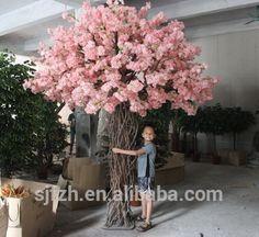 Wedding sideway decorative cherry blossom bonsai tree pink artificial indoor cherry blossom red tree