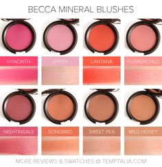 Sneak Peek: Becca Mineral Blushes - Hyacinth, Gypsy, Lantana, Flowerchild, Nightingale, Songbird, Sweet Pea and Wild Honey