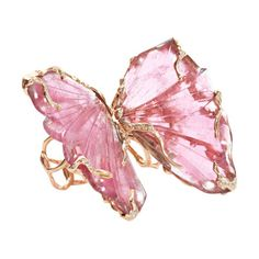 Lucifer Vir Honestus - Pink Tourmaline Double Butterfly Ring - Set of two rose gold organically shaped rings set with apink tourmaline 'wing' at face with white pave diamond detail throughout. - Would be lovely in silver with blue or lilac stones Jewelry Box, Jewelry Rings, Jewelry Accessories, Fine Jewelry, Unique Jewelry, Gold Jewelry, Butterfly Ring, Butterfly Jewelry, Monarch Butterfly