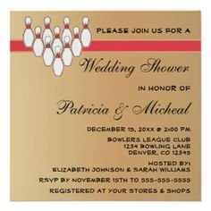 Bowling bridal shower invitations.  Click to see other sports theme shower invites including baseball, football, basketball and more!