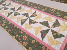 Quilted Shabby Chic Table Runner by MoonDanceTextiles on Etsy