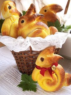 Bunny Bread. Website in another language so use Rhodes Rolls or your own recipe (or google translate!) but pictures show you how to shape them.
