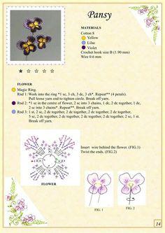 Pola bunga pansy rajut