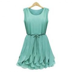 $17.37 Pleated Solid Color Scoop Neck Sleeveless Refreshing Style Chiffon Dress For Women