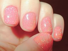 pink  gold sparkle nails
