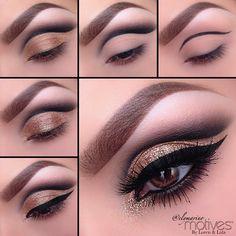 Gold eyeshadow makeup tutorial