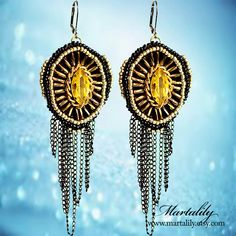 Tassel Victorian Black Chain Chandelier Earrings  by MARTALILY, £64.00