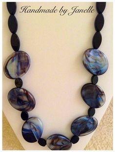 Black, Blue & Grey Mottled Bead Necklace Handmade ON SALE