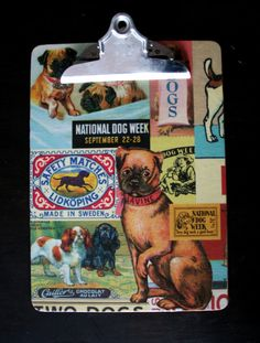 Clipboard Decoupage Display Retro style Dogs by andreacreates