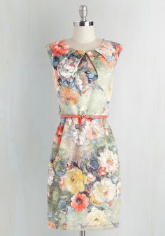 Refined and Dandy Dress. Looking perfectly polished, you arrive at the reception in this floral-printed sheath dress! #multi #wedding #modcloth