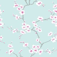 Apple Blossom Tree Teal Wallpaper by Graham and Brown