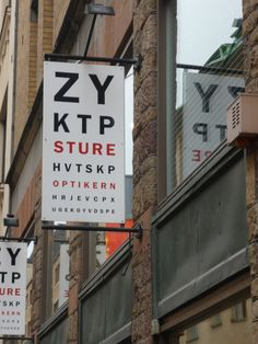 "Wayfinding and Typographic Signs - stockholm-optometrist-signage; Clever signage for an optometrist in Stockholm, Sweden."" License: License (Creative Commons). Photo taken by Julia Birks from Australia."