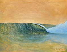 """Evening Glow (11"""" x 14"""")  Acrylic on carved wood. Surf art by Nathan Ledyard"""