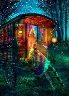 Gypsy Firefly - from Foxfires - The Art of Aimee Stewart - Gallery Gypsy Caravan, Gypsy Wagon, Gypsy Life, Gypsy Soul, Fantasy World, Fantasy Art, Belle Photo, Fairy Tales, Artsy