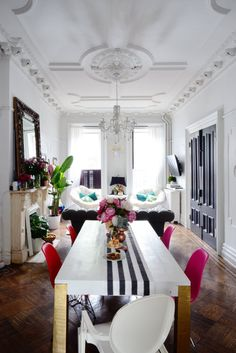 """WHITE DINING TABLE WITH GOLD LEGS AND PAINTED STRIPE """"RUNNER"""". I COULD PAINT MY TABLE THIS WAY"""