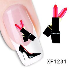 XF1231 Fashion Water Transfer Nail Art Stickers Decal Mystery high-heeled shoes and lipstick design #>=#>=#>=#>=#> Click on the pin to check out discount price, color, size, shipping, etc. Save and like it!