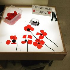A Remembrance Day provocation at the light table this week. A Remembrance Day provocation at the light table this week. Remembrance Day Activities, Remembrance Day Art, Kindergarten Activities, Activities For Kids, Poppy Day Activities Eyfs, Poppy Craft, Tuff Tray, Anzac Day, Veterans Day