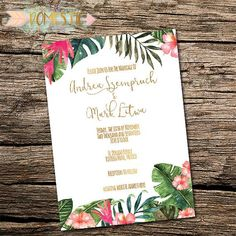 Destination Wedding Invitation Tropical Wedding by Thedomesticmom