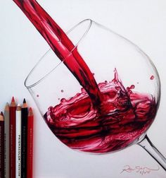 Glass of Red Wine colored pencils art