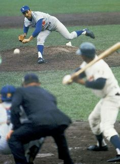 1965 World Series action, Koufax on the mound vs. the Twins