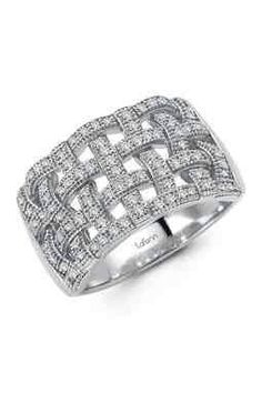 SS Micro Pave Simulated Diamond Basket Weave Ring - hautelook.com