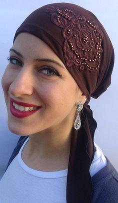 Elasticized head scarf with two long ties. by UptownGirlHeadwear, $18.00