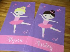 Ballerina Dance Towel Personalized Monogrammed Girl Boy Kids Pool Swim by TheBeeBoutiqueNC on Etsy