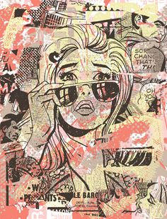 10_vintage-inspired-mixed-media-art-girl-with-glasses-comic-book-style-design