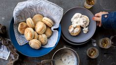 In this biscuits and gravy recipe, repeatedly folding and rolling the biscuit dough yields lots of flaky layers that pull apart neatly when you eat them.