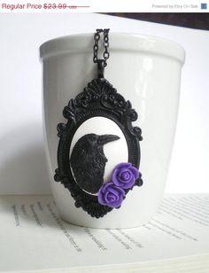 SALE Black Raven Necklace. Edgar Allan Poe. Purple Roses. Gothic Wedding. Halloween Costume Accessory.. $20.39, via Etsy.