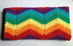 REDUCED Rainbow ripple crochet afghan. Crib by SmilingBabyBee