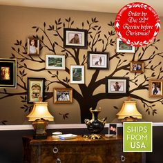 """Family Tree Wall Decal (Chestnut Brown, Standard Size : 107""""w x 90""""h) by Simple Shapes ®"""