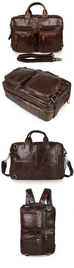 Men's Genuine Leather Briefcase Top-Zip Laptop Messenger Bag Backpack