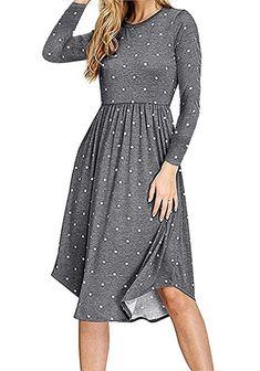 7befae543 Amazon.com: Simier Fariry Women Long Sleeve Pleated Polka Dot Pocket Swing  Casual Midi Dress: Clothing