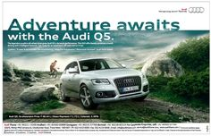 "Need to escape. The picture features a luxury car in a natural terrain. It's saying that this car has the ability to go exploring off road, and the ""Adventure awaits. Car Advertising, Ads, Car Banner, Audi Cars, Adventure Awaits, Luxury Cars, Corporate Identity, Geometry, Exploring"