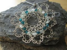 Silver necklace crocheted necklace flower shape by ScentOfGold, $23.00 It's One of a Kind!