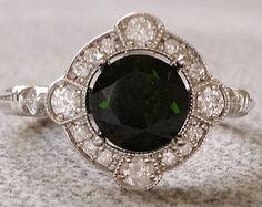 Estate Halo Blue Green Moissanite Diamond Antique Engagement