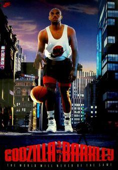 Godzilla Vs Barkley Poster By Nike Basketball History, Sports Basketball, Sports Logo, Basketball Players, Nba Stars, Sports Stars, Nike Poster, Vintage Ads, Vintage Nike